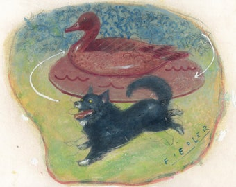 Dog & Duck [original painting]