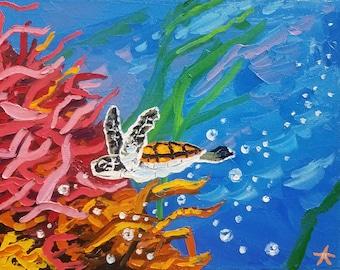 Textured wall art / canvas art / sea turtle / marine life painting / oil painting / ocean painting / home decor / animal art