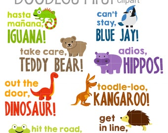 Animal Catch Phrases 2 Digital Clip Art for Scrapbooking Card Making Cupcake Toppers Paper Crafts