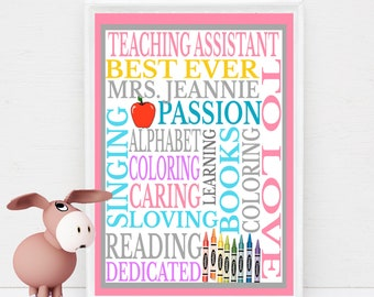 Personalized Teaching Assistant Gift Subway Wall Art DIY Print Customized with Teacher's Name & You Print at home or Have Printed