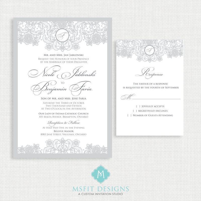 Vintage Lace Wedding invitation- RSVP Card Included- Printable ...