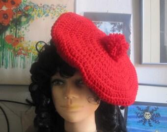 Rapsberry Beret Red Crochet Tam Pompom  Hat