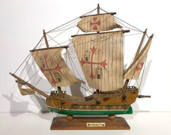 Vintage Christopher Columbus Santa Maria 1492 Scaled Model Ship