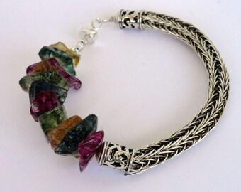Gemstone Viking Knit Bracelet