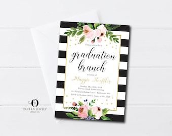 Graduation party invitation floral graduation brunch black and white graduation party invitation floral graduation brunch invitation printable grad party invite filmwisefo