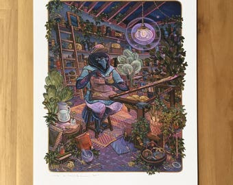 Hand Embellished - Magpie Tinkerer - Fine Art Print by Nicole Gustafsson