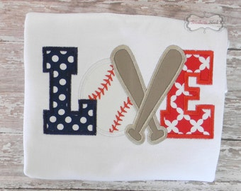 LOVE Baseball Embroidered Shirt or Bodysuit in Red, White & Navy Blue