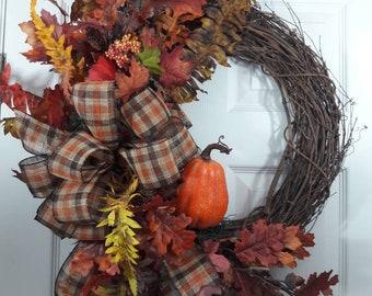 Fall wreath,grapevine fall wreath, wreath,fall grapevine wreath,wreath with pumpkin for fall.