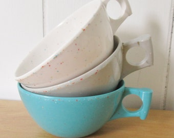 3 vintage confetti melmac cups Spaulding Ware