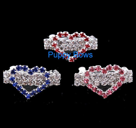 Puppy Bows ~Rhinestone TIARA crown barrette dog bow clip blue pink YORKIE styles #27-31 ~USA seller