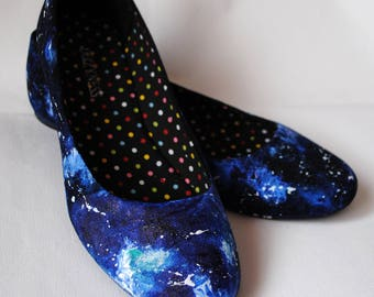Handpainted galaxy ballerinas, custom flats, galaxy shoes, galaxy flats, handpainted slip ons