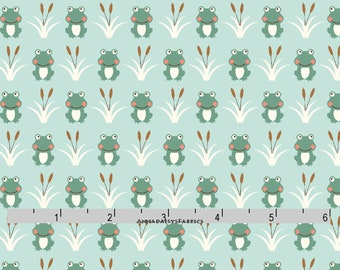 Frog Fabric, Teal Green Frog Quilt Fabric, Studio E Camp-A-Long Critters 4009 66, Camp A-Long, Cotton Yardage