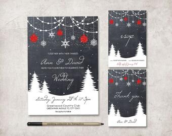 Winter Wedding Invitation Suite, Printable Wedding Invitation, Christmas Wedding Invitation, Chalkboard Wedding Invite, Digital File