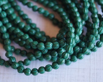 4mm Melon Round Beads -  Dark Green With Turquoise Wash - Czech Glass Beads - 4mm Fluted Round Beads - Bead Soup Beads