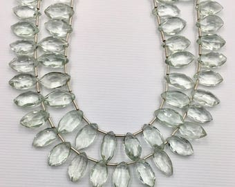 Natural Green Amethyst Faceted Marquise 7x12 mm, 1 Full Strand, Approximate 26 pcs