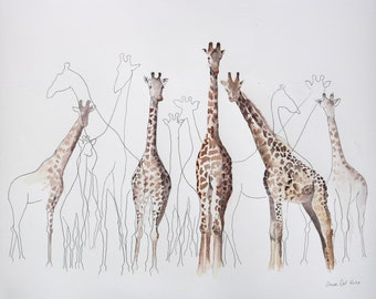 """All the Giraffes ORIGINAL watercolour painting on heavy moulin du roy cotton paper 22"""" x 18"""""""