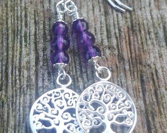 Tree of Life Earrings. Amethyst birthstone drop earrings. Silver tree of life birthstone earrings. February birthstone earrings. Purple.