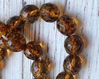 12mm Czech Crystal, Faceted Round Beads in Tortoise, Light Brown Bead, 34pcs