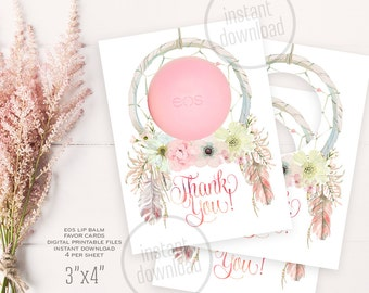 "Dreamcatcher EOS lip balm baby shower favor card, birthday bridal mother's day gift thank tags 1,5""x1,5"". Instant download 002CMPEX 121CMPEX"