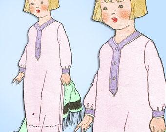 1920s Original Vintage McCall Pattern 2072 Toddler Girls Nightgown or Nightshirt Size 6