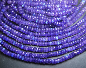 10 Inch Strand,Super Finest,Blue RAINBOW Moonstone Faceted Rondelles Shape,5-5.5mm Size,