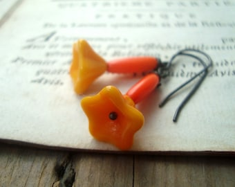 Orange Blossom Earrings Vintage Glass and Oxidized Sterling Silver Fall Fashion Autumn Woodland Halloween Small Dangles Gifts Under 40