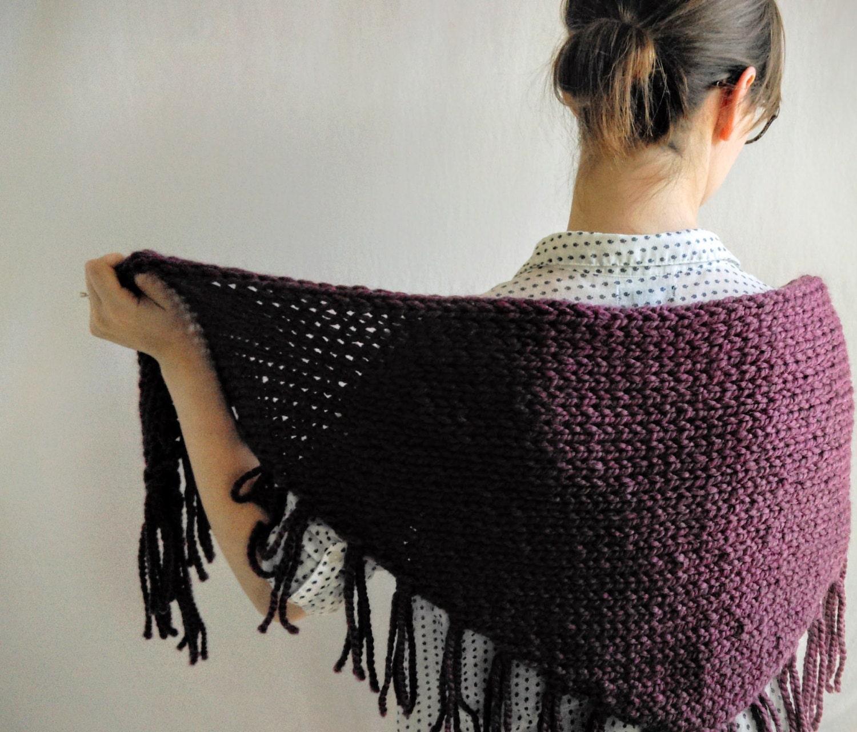Triangle Shawl Knitting Pattern // Chunky Knit Scarf Pattern ...