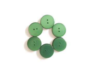 6 Green Iridescent Vintage Buttons, 18mm