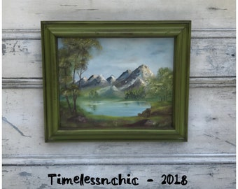 Vintage Framed Landscape Oil Painting Mountain Painting - Vintage Framed Oil Painting - Landscape Painting - Nature Painting - Woodland