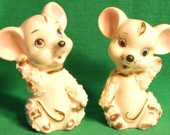 1950s Adorable Mice Shaker Set-Japan