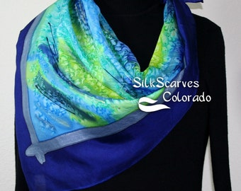 Hand Painted Silk Scarf. Blue, Lime, Teal Handmade Scarf MORNING MARSHES. Extra-Large Square 35x35. Silk Scarves Colorado. Birthday Gift.