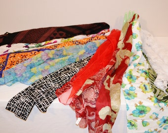 1950's to 1980's Lot of Vintage Scarves.....Set of Ten