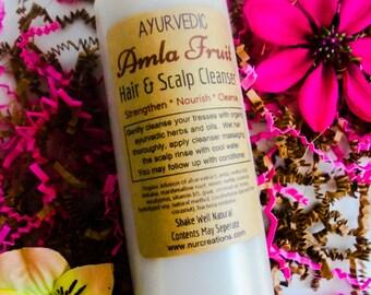 AYURVEDIC- Amla Fruit Herbal Hair & Scalp Cleanser w/ Reetha Fruit, Shikakai, Neem, Vitamin B5, Nettle *pH Balanced 8oz Natural Shampoo