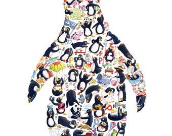 P is for Penguin - Children's Art Print, Signed