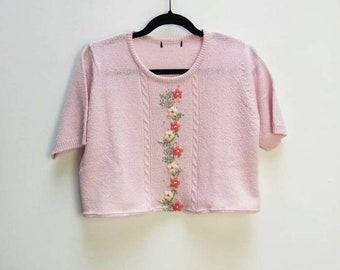 Embroidered Cropped Jumper Vintage Pink Knit Sweater Cropped Fit Knit Top Floral Embroidered Pink Jumper Vintage Knit Top Flower Embroidery
