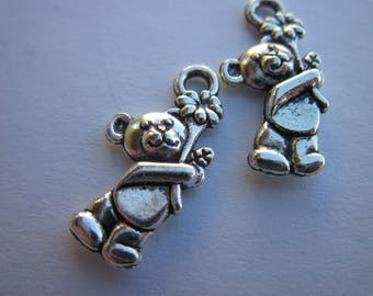4 charms bear silver plated (169)-