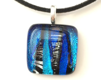Blue Glass Pendant Necklace - Blue Fused Glass Pendant Necklace - Blue Dichroic Glass Jewellery - Blue Handmade Necklace - EP 530
