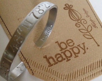 High School graduation gift idea coordinate bracelet longitude latitude jewelry personalize gift reminder of home silver bracelet