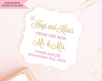 Hugs and kisses tags (30) - Hugs and kisses from mr and mrs - Wedding favor tags - Wedding tags - Wedding gift tags