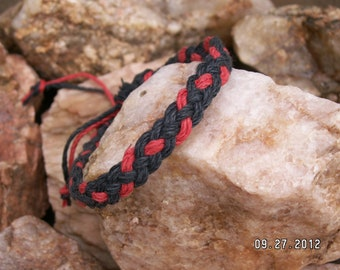 Hemp Black and Red Braided Anklet or Bracelet - Hippie Surfer Braided Hemp Jewelry for Men Women & all ages