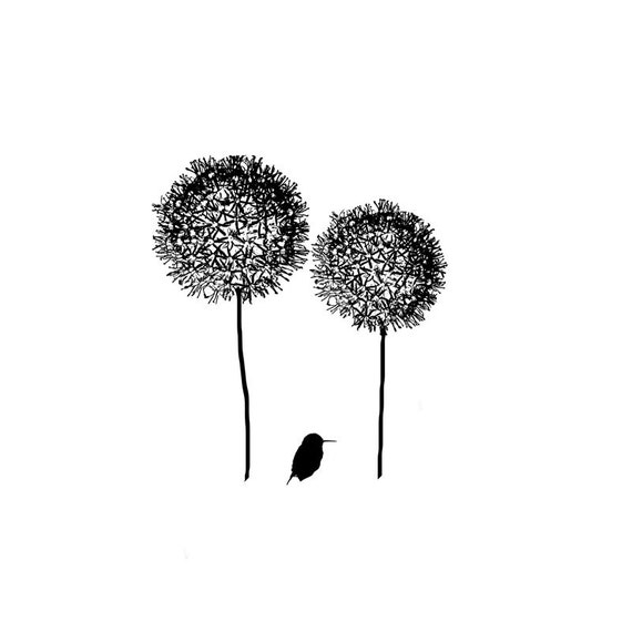 Black and white bird silhouette flower print minimalist nature