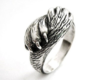 Paw to Paw - Silver Cat Ring - Cat Lover Wedding or Engagement Ring - Handmade - Pet Lover Jewelry - Sterling Silver - Valentine's Gift 56c
