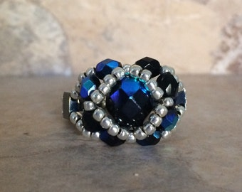 Czech Fire Polished Woven Ring in Black and Silver