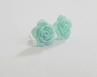 Open Rose Beautiful Bloom Flower Earrings Aqua