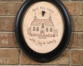 Embroidered Wall Art - Framed Wall Art - Country Room Accent - Cottage Decoration - Spring Decoration - Gift for Mom - House Warming Gift