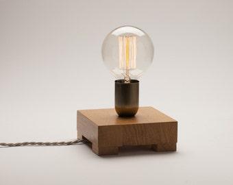 Edison lamp, oak wood lamp, table lamp, edison bulb lamp, edison desk lamp, Christmas present, table lamp wood, Gift for men, gift for wome