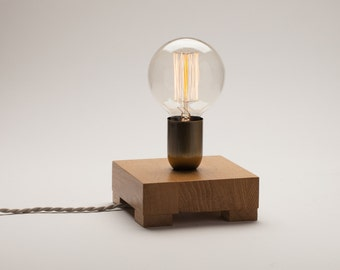 Charming Edison Lamp, Oak Wood Lamp, Table Lamp, Edison Bulb Lamp, Edison Desk