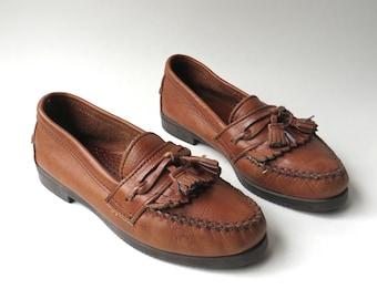 vintage Dexter Brown Leather Fringed Loafers / Dexter Brown Leather Moccasins