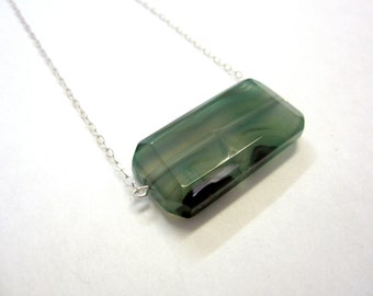 Genuine green agate necklace on sterling silver.  Faceted green stone necklace. Simple Jewelry, handmade, one of a kind.