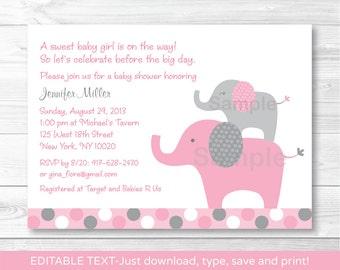 Pink Elephant Baby Shower Invitation / Elephant Baby Shower Invite / Polka Dot Pattern / Pink & Grey / INSTANT DOWNLOAD Editable PDF A334
